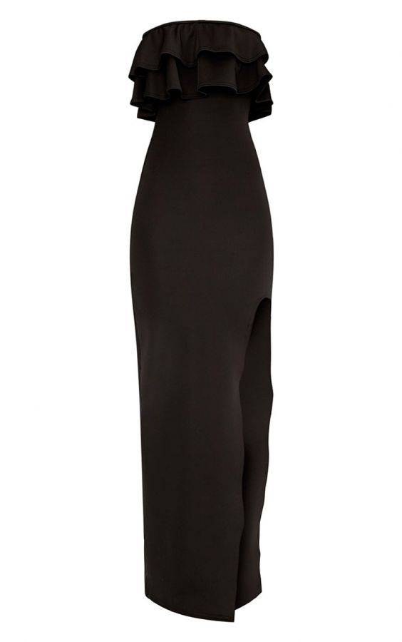 Black maxi dress with ruffles on the chest