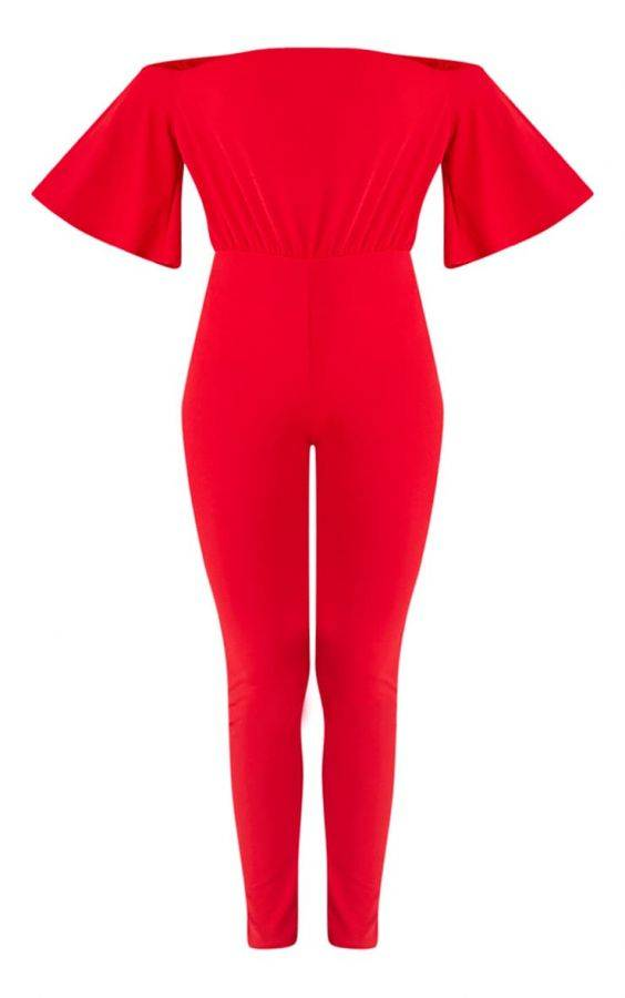 Jumpsuit red with open shoulder