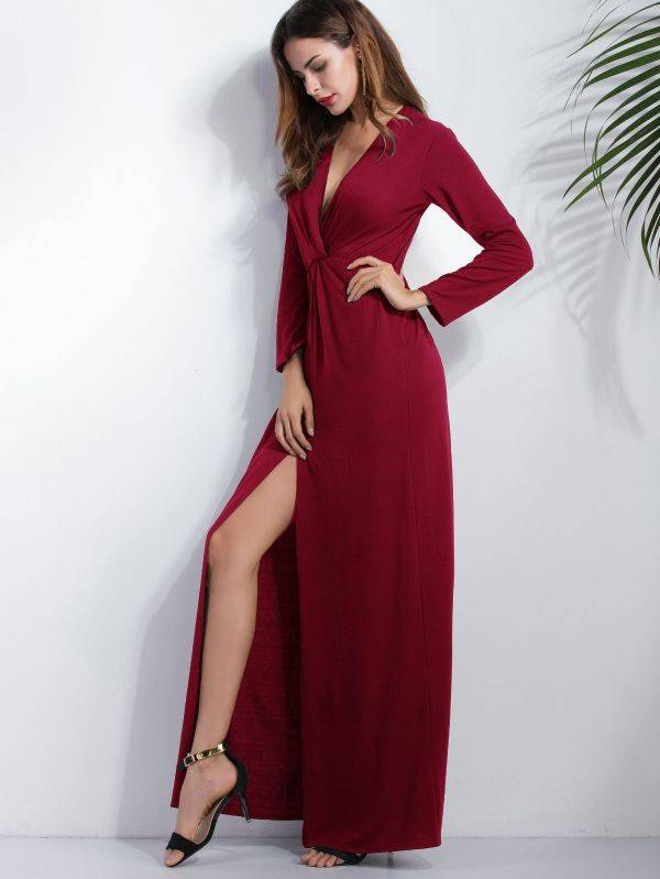 Long dress with long sleeves open front