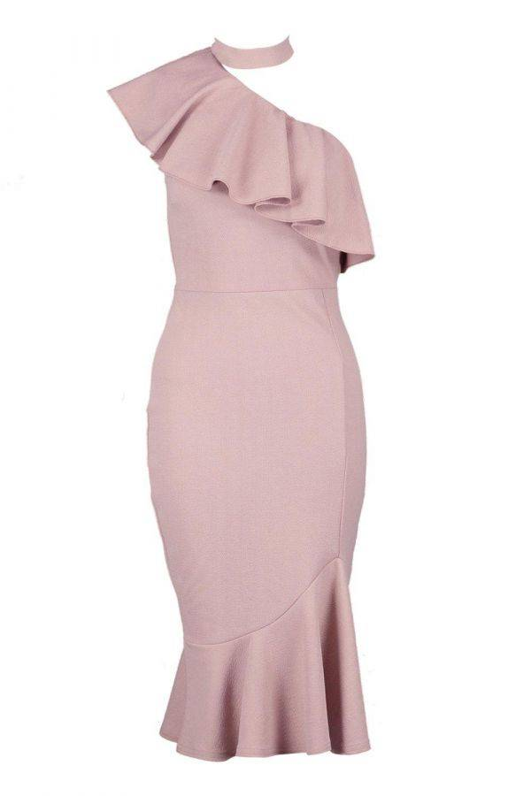 Pink dress with ruffles