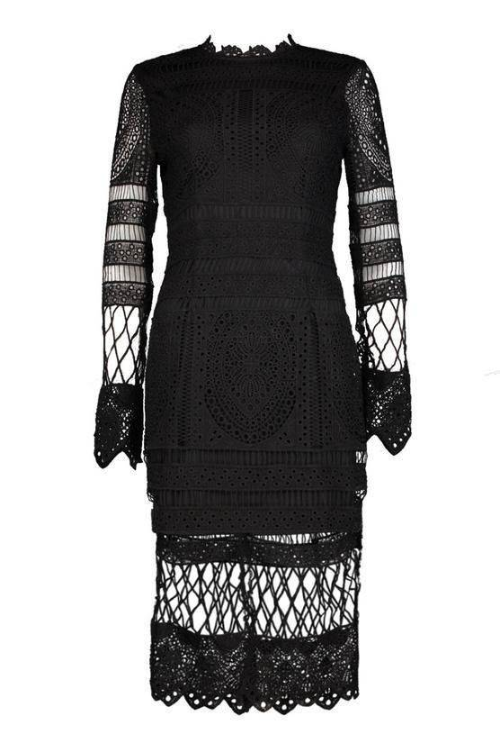 Midi Dress Black Medium Length Bohoo