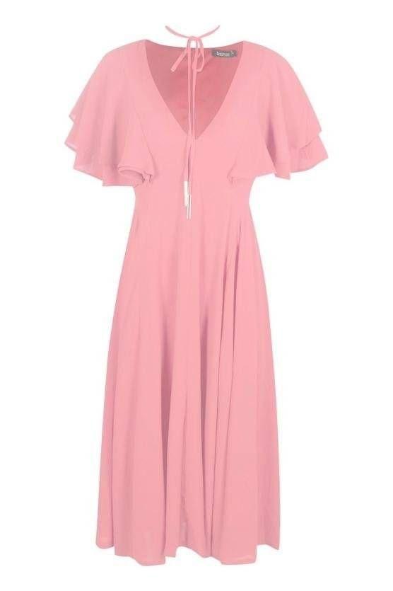 فستان وردي متوسط الطول-3