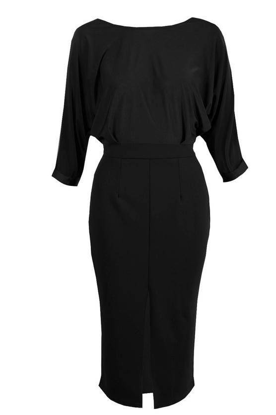 فستان اسود متوسط الطول