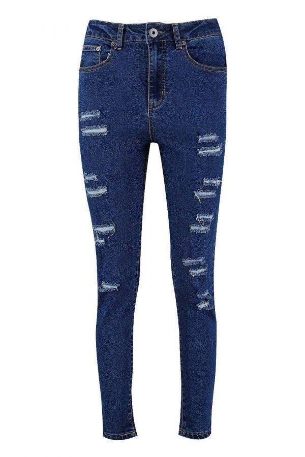 بنطلون جينز ازرق ممزق ماركة بوهو