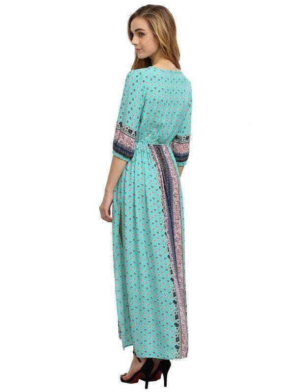 Long Sleeve Half Dress - Blue