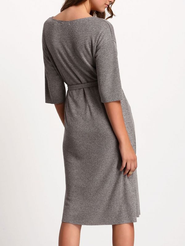 Medium gray dress with medium sleeves