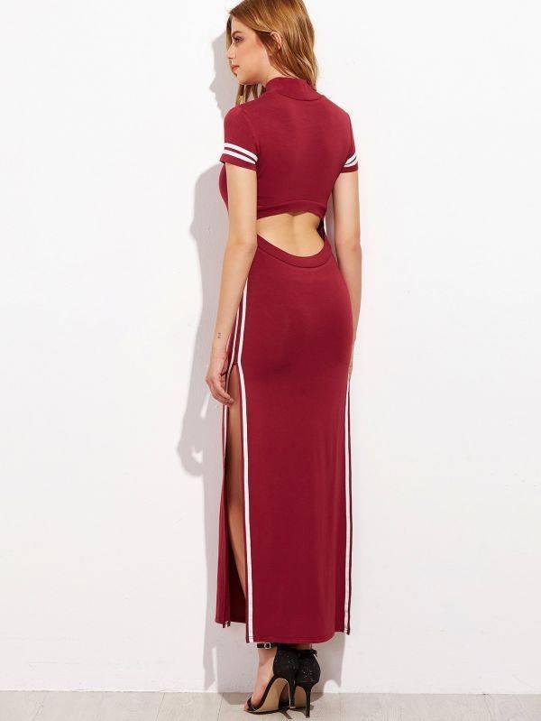 فستان عنابي طويل بفتحة كُم قصير -4