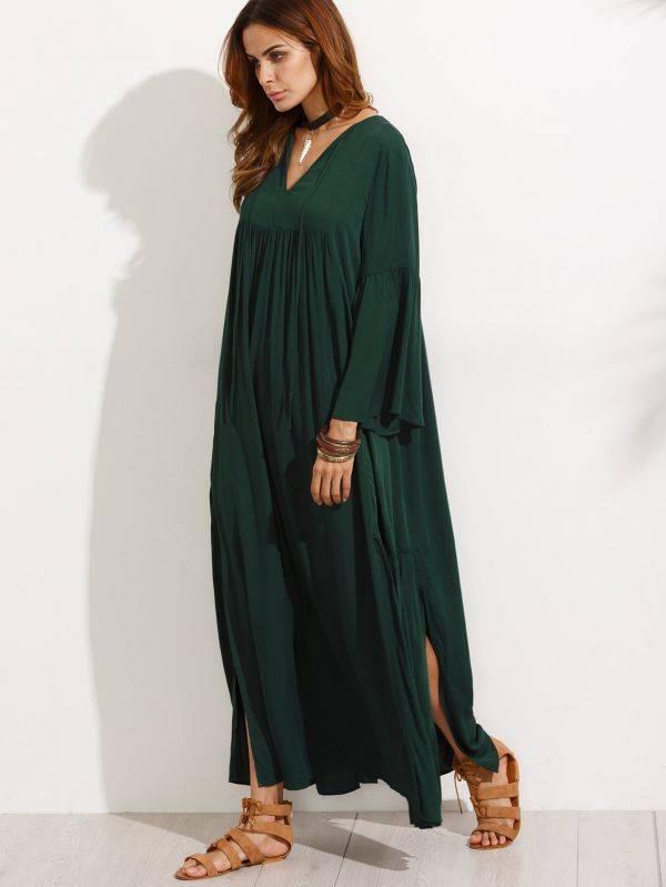 فستان ماكسي اخضر داكن كاجوال باكمام جرس-4