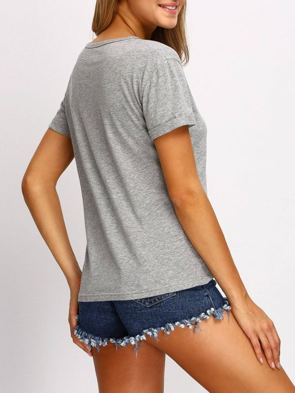 Casual T-Shirt Gray Short Sleeve