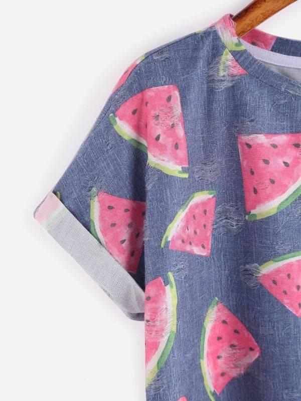 T-Shirt Print Watermelon Short Sleeve Round Jacket