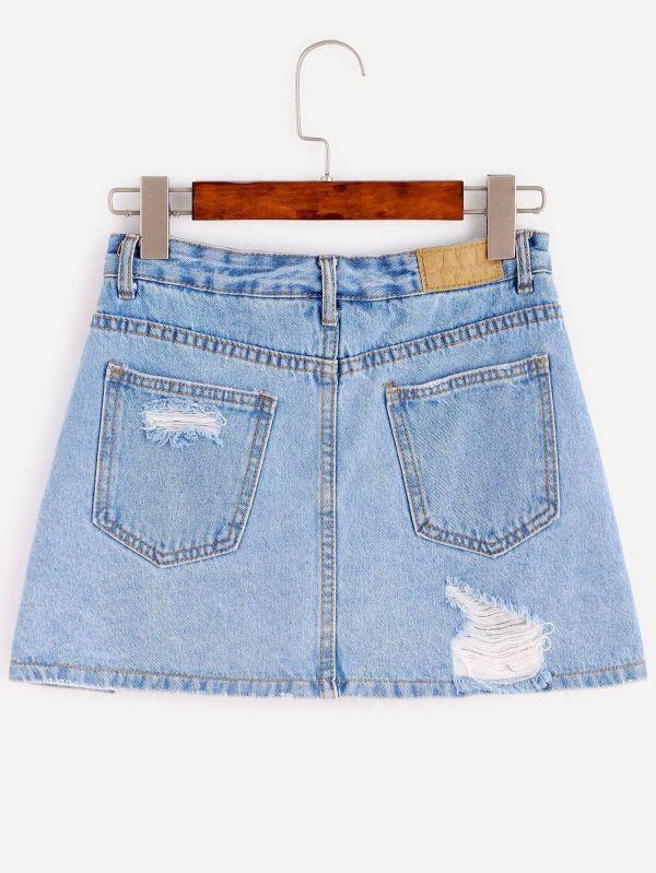 تنورة جينز قصيرة بقطع في الامام-4