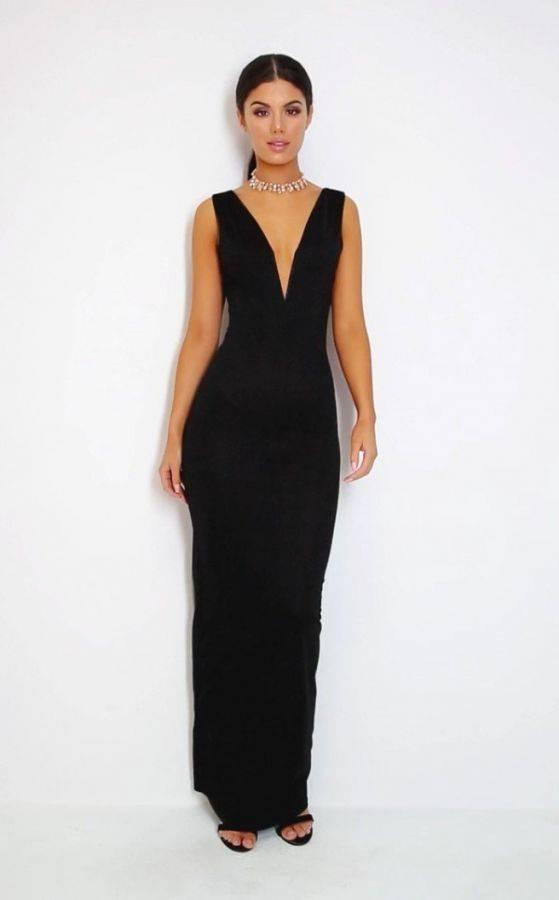 فستان ماكسي اسود اللون-4