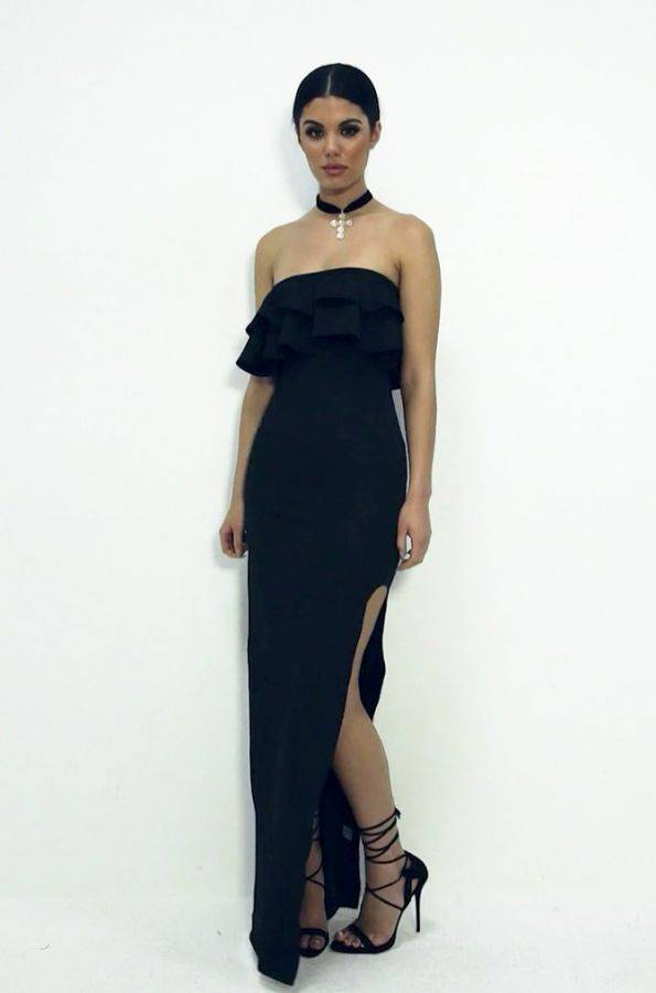 فستان ماكسي اسود بكشكشة على الصدر-5
