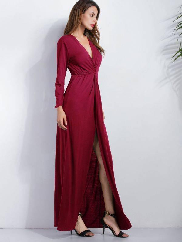فستان طويل عنابي باكمام طويلة-4