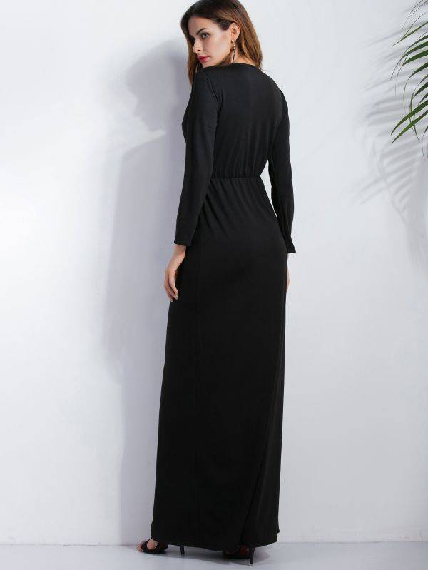 Open casual dress black with deep neckline long sleeve