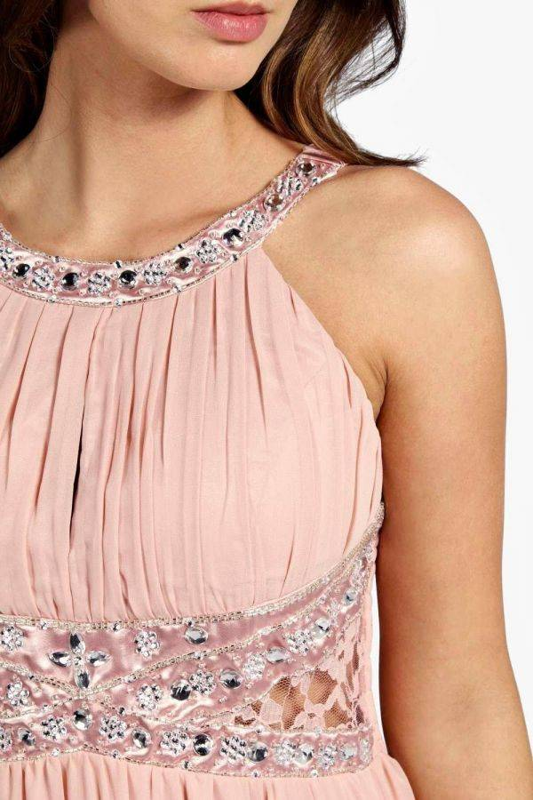 فستان ماكسي وردي