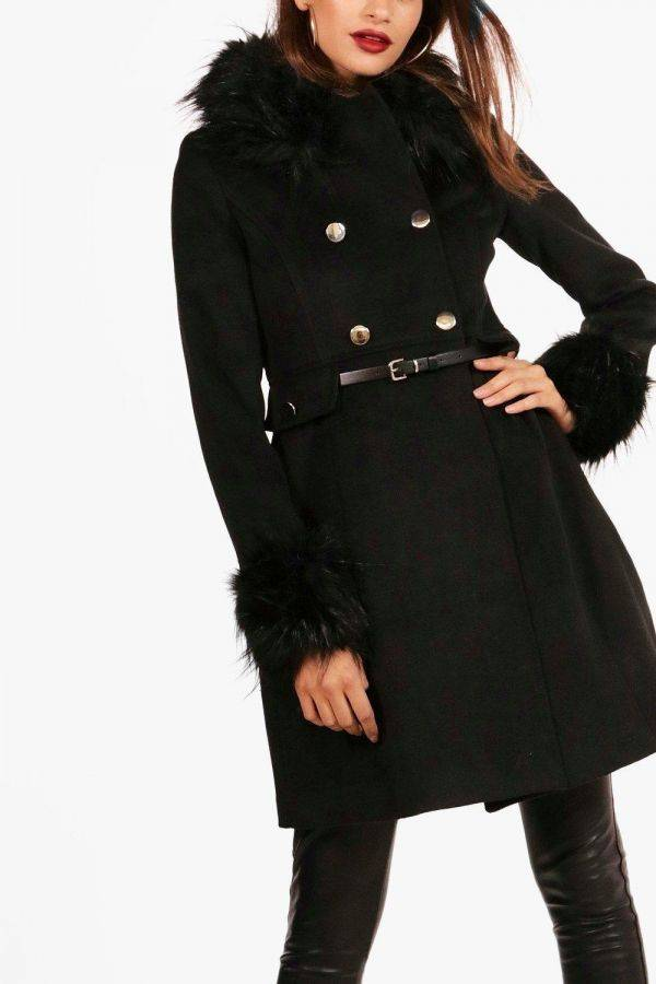 Black jacket with fur