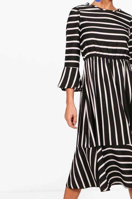 فستان اسود مخطط بوهو