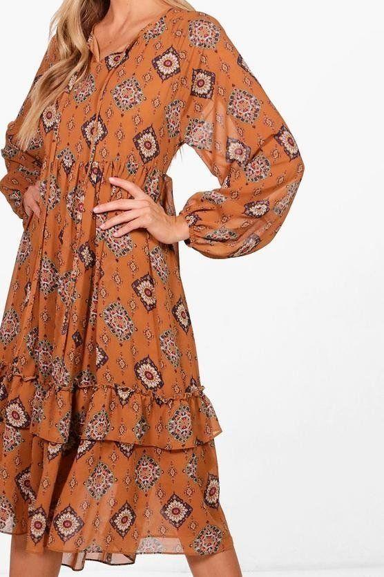 فستان ميدي متوسط الطول من ماركة بوهو