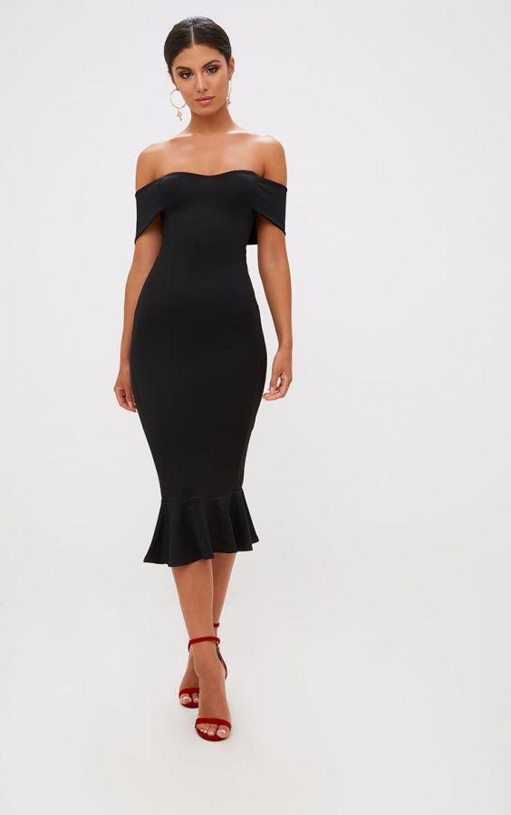 فستان اوف شولدر متوسط الطول-2