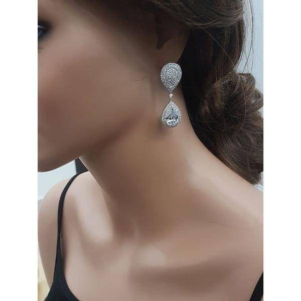 Zircon Double Tear Earrings