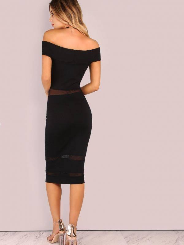 Stylish Dress Unveiled Shoulder - Black