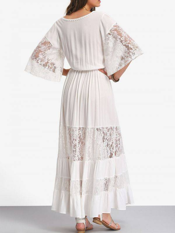 White maxi dress with lace tied waist