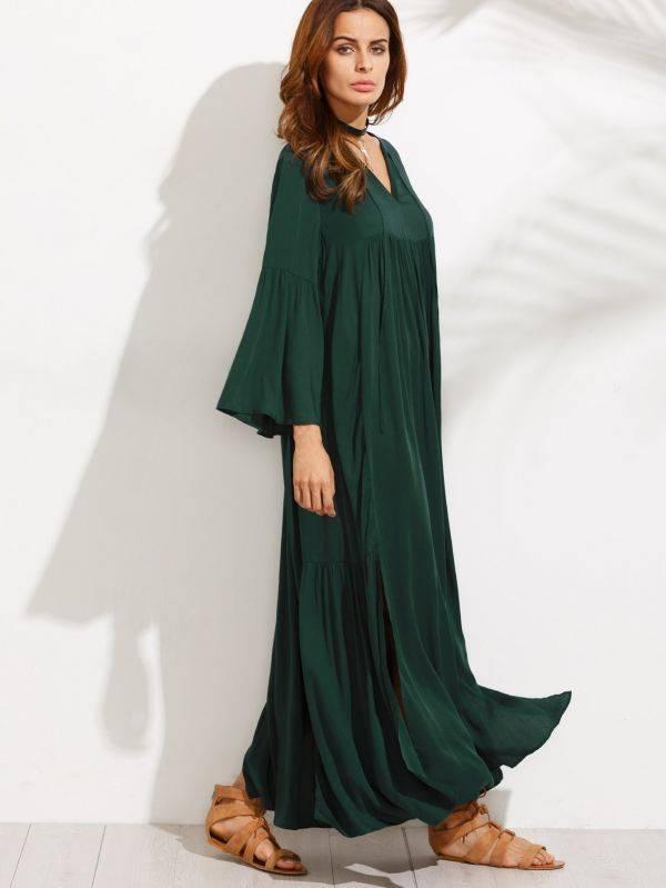 فستان ماكسي اخضر داكن كاجوال باكمام جرس-5