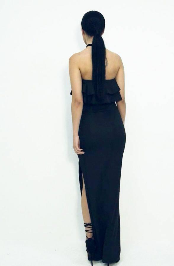 فستان ماكسي اسود بكشكشة على الصدر-4