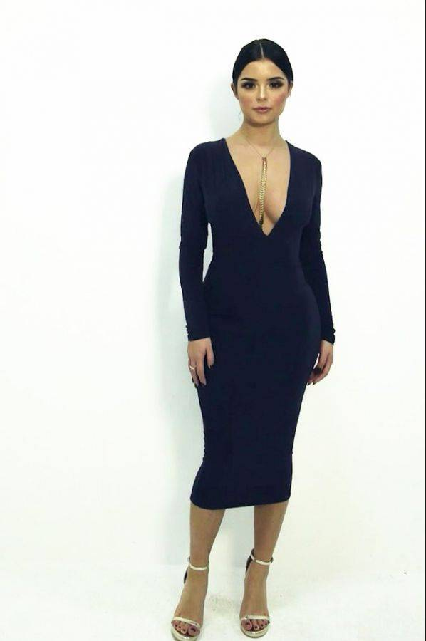 فستان كحلي متوسط الطول بكم طويل-5