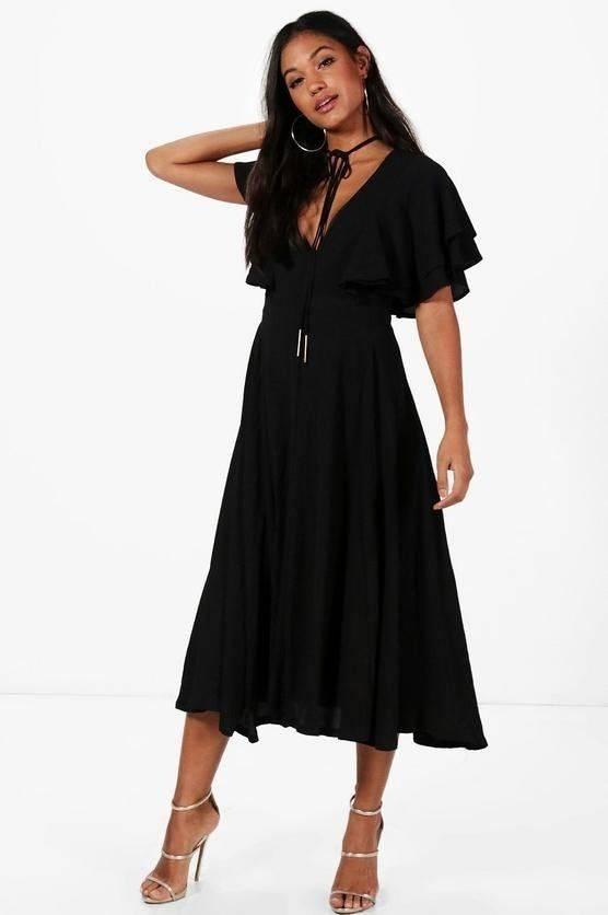 فستان وردي متوسط الطول-5