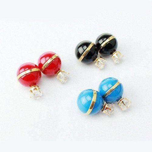 Double stone stone earring