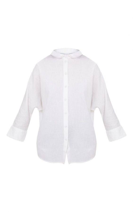 White summer blouse is nice linen