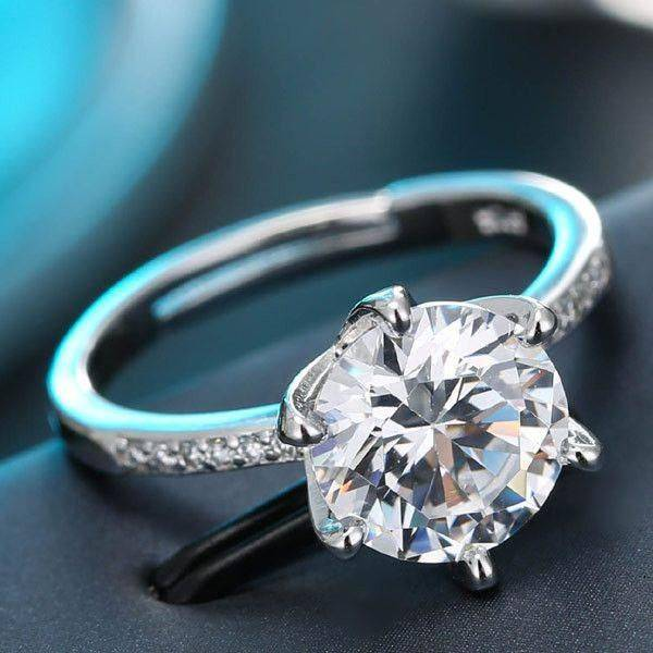 Zircon Silver Solitaire Ring
