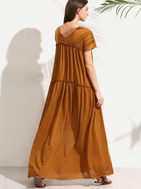 Yellow maxi dress short sleeve