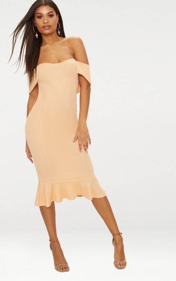 فستان اوف شولدر متوسط الطول-6