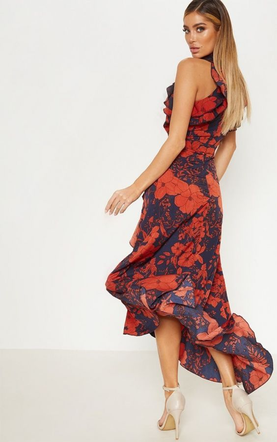 Maxi dress wrapped in kashkasha and printing flowers