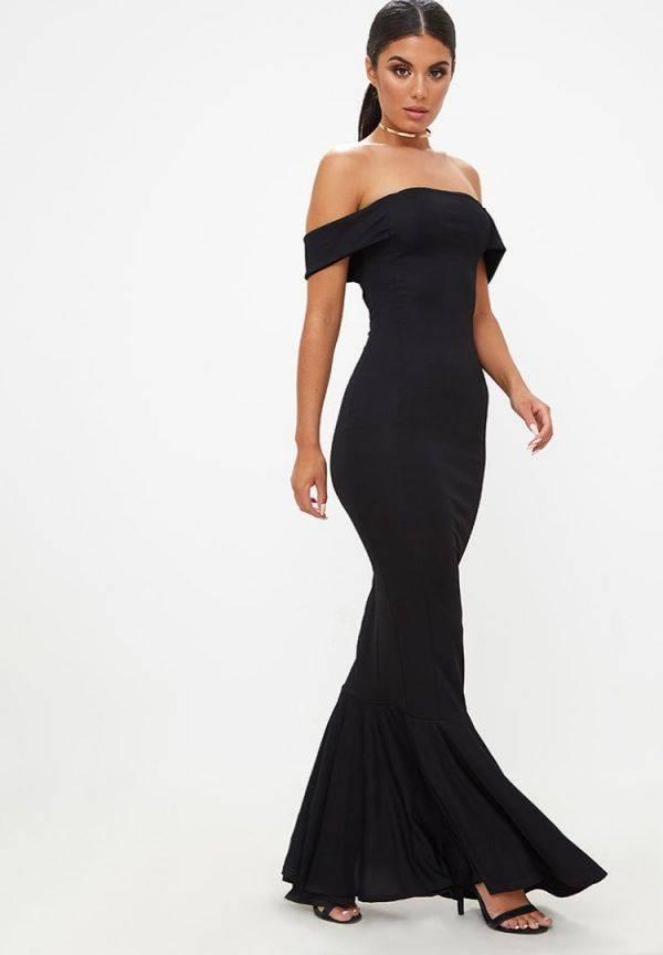 فستان اسود ماكسي ماركة بريتي-8