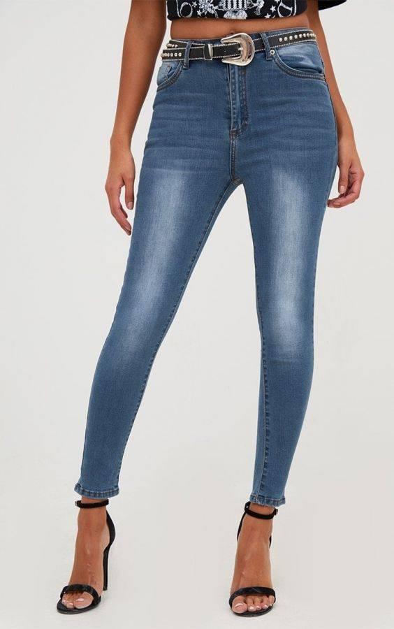 بنطلون جينز بخصر مرتفع