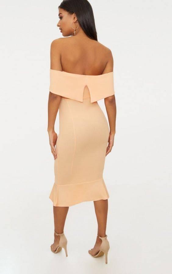 فستان اوف شولدر متوسط الطول-7