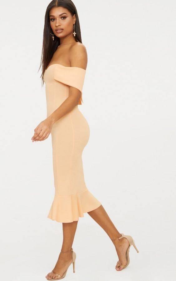 فستان اوف شولدر متوسط الطول-8