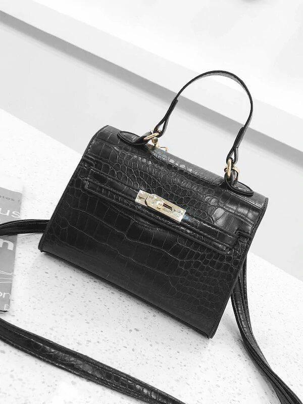 Elegant bag with snake skin