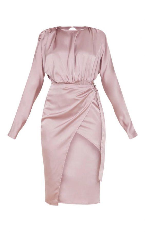 فستان ساتان ميدي-10