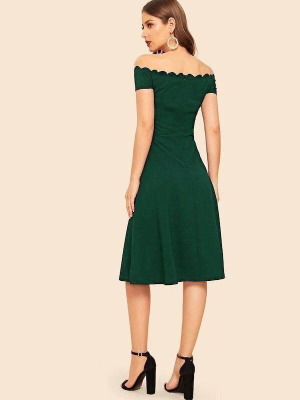 فستان او شولدر مكشوف الاكتاف ميدي-6