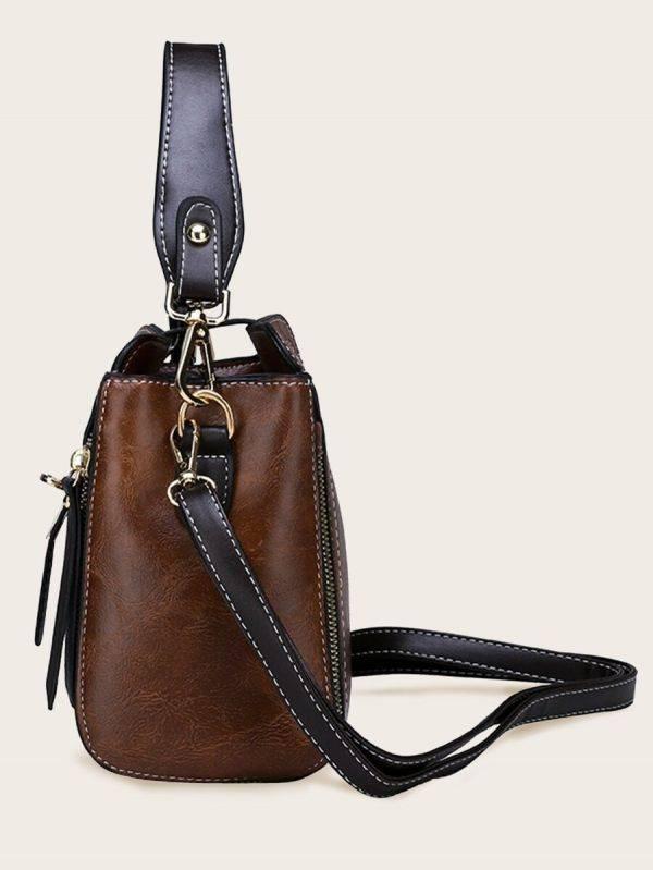 حقيبة جلد بني فاخر بتعليقة دب-2