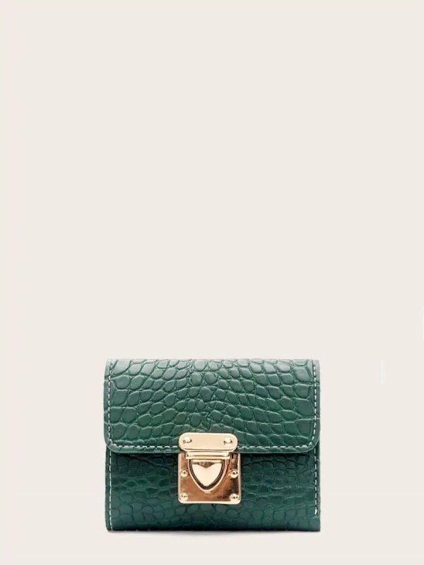 محفظة بقفل ذهبي جلد تمساح اخضر