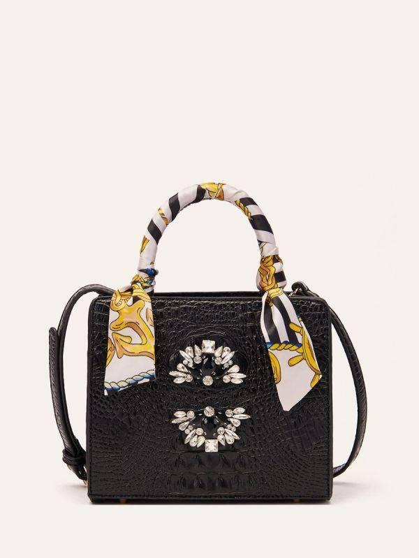 Crystal bow tie satchel bag