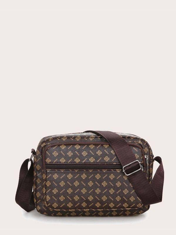 brown zip side bag