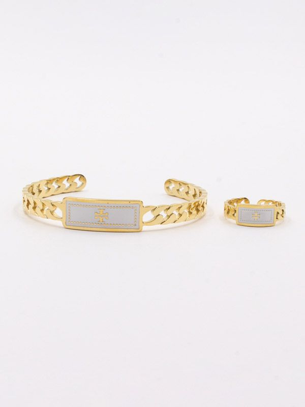 Tory Burch white and black bracelet and ring