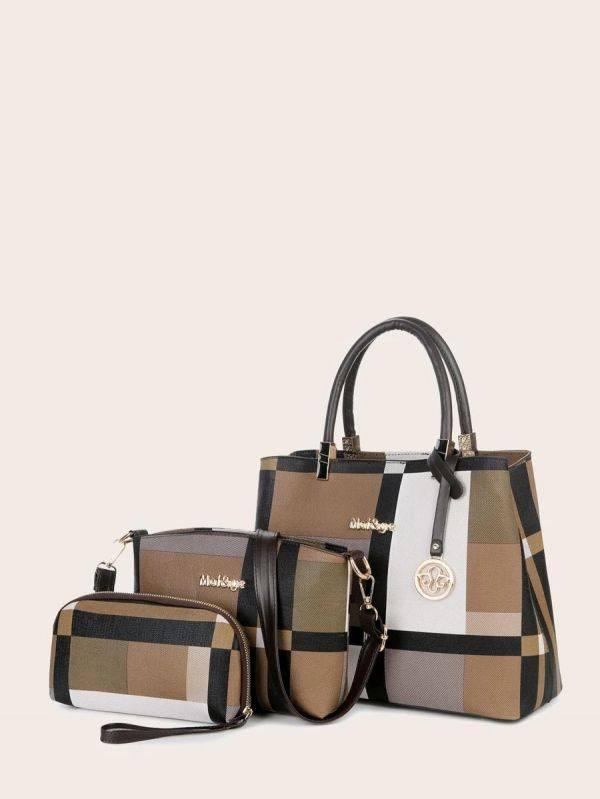 Check Shoulder Bag Set